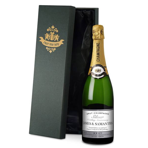 Personalised Silver Anniversary Champagne Luxury Gift Box