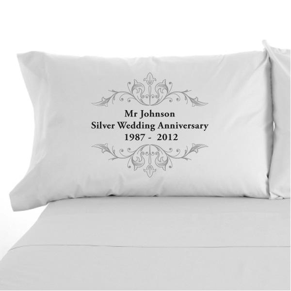 Personalised Silver Anniversary Pillowcases
