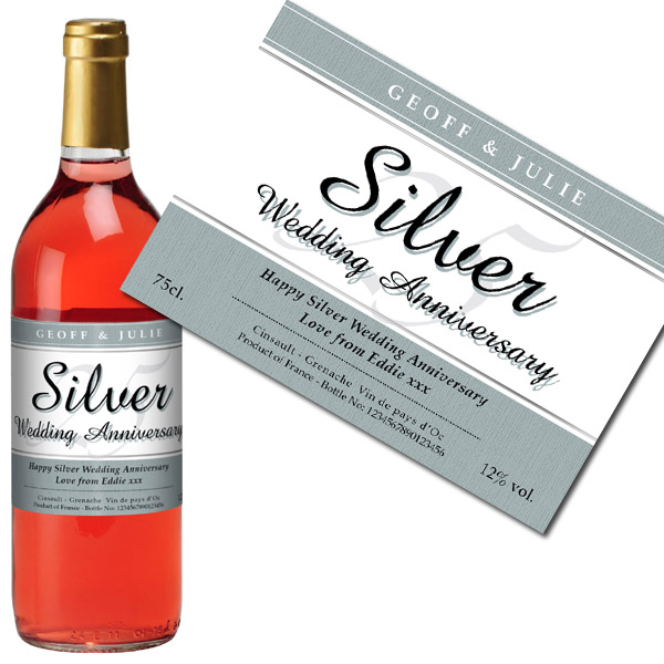 Personalised Silver Wedding Anniversary Rose Wine Gold Gift Carton - Wedding Anniversary Gifts