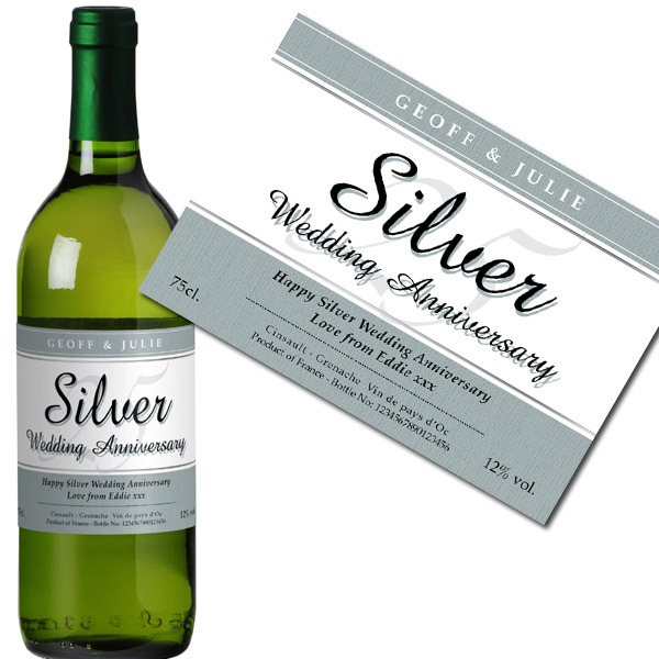 Personalised Silver Wedding Anniversary White Wine Bottle in Gift Box