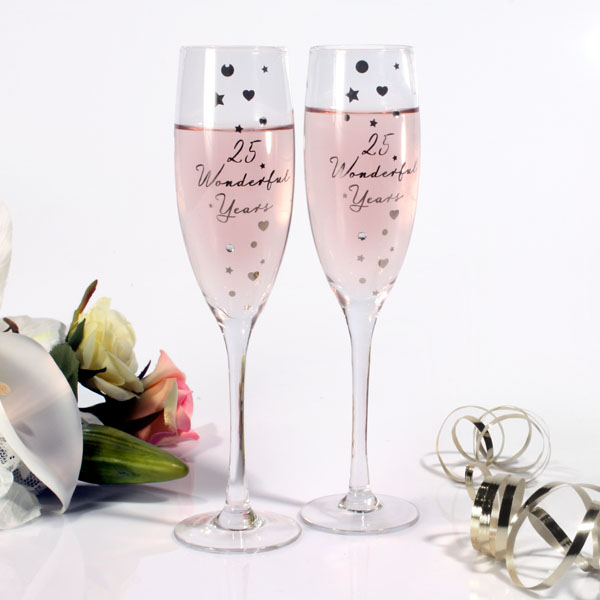 Happy 25th Anniversary Glasses - Silver Wedding Anniversary Gifts