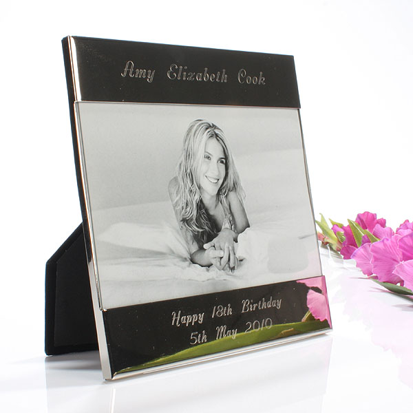 Shiny Silver Personalised Photo Frame 7 x 5 - Shiny Gifts