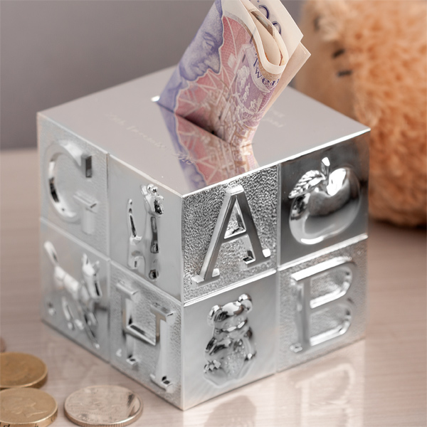 Personalised Silver Plated Cube ABC Money Box - Money Gifts