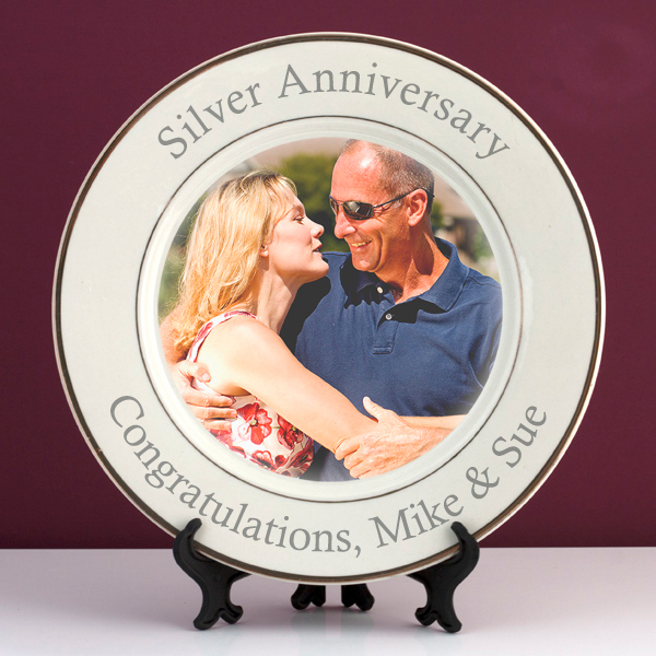 Personalised Silver Wedding Anniversary Photo Plate