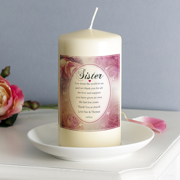 Personalised Floral Design Sister Candle - Sister Gifts