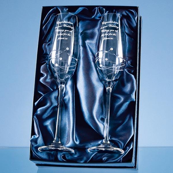 Pair of Personalised Swirl and Swarovski Crystal Champagne Flutes - Swarovski Gifts