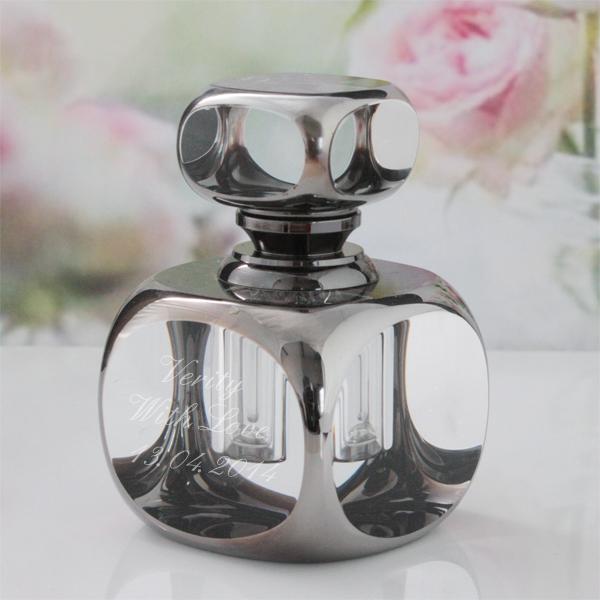Personalised Sophia Cube Smoked Glass Perfume Bottle - Perfume Gifts
