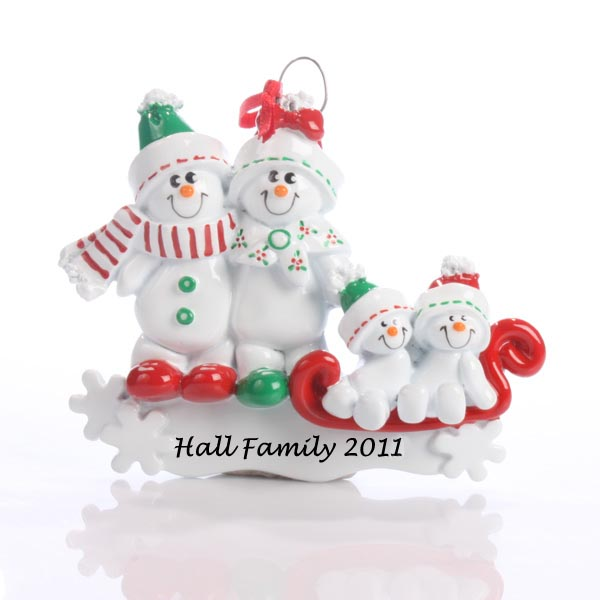 Personalised Snowman Family Ornament Couple With 1 Child - Ornament Gifts