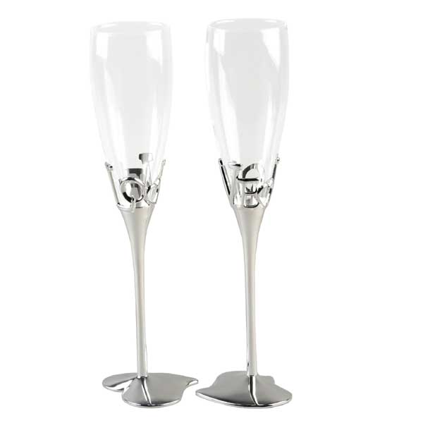 Personalised Pair of Love Champagne Glasses - Champagne Gifts