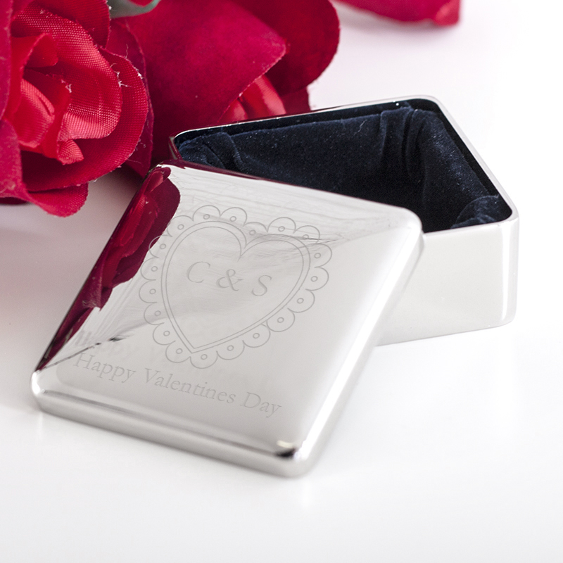 Personalised Valentine's Day Square Jewellery Box