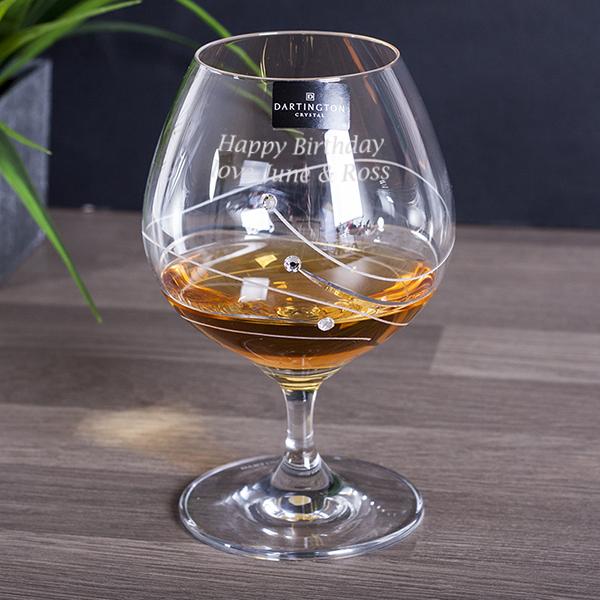 Personalised Dartington Glitz Brandy Glass In Gift Box - Brandy Gifts