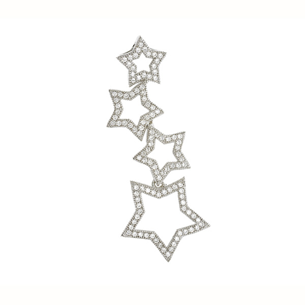 Stars Sterling Silver Pendant with CZ Stones - Stars Gifts