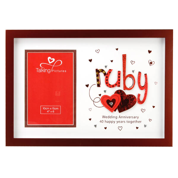 Talking Pictures Ruby Anniversary Photo Frame - Ruby Wedding Anniversary Gifts