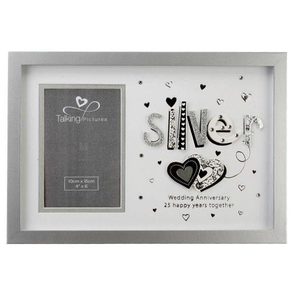 Talking Pictures Silver Anniversary Photo Frame - Pictures Gifts