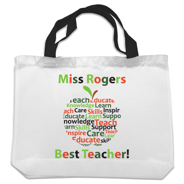 Personalised Teacher Shopping Bag - Apple Design - Bag Gifts