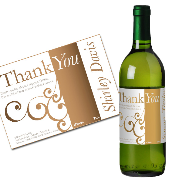 Personalised Thank You Wine Gold Gift Carton