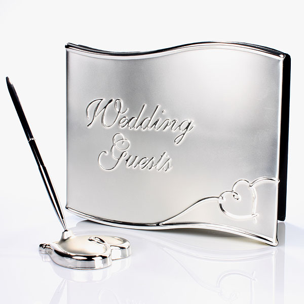Silver Wedding Guest Book and Pen