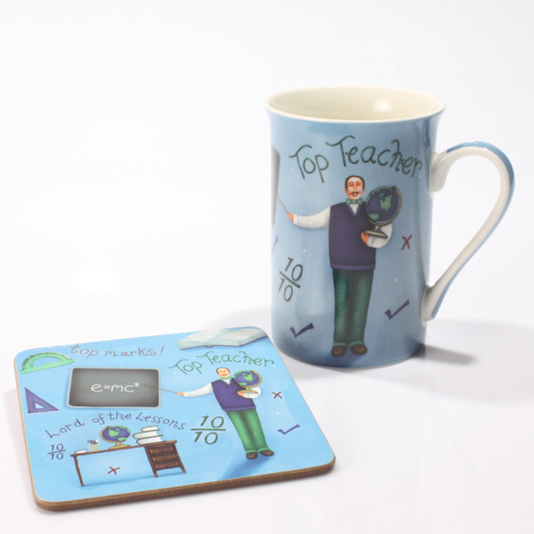 Top Teacher Mug and Coaster Set - Teacher Gifts