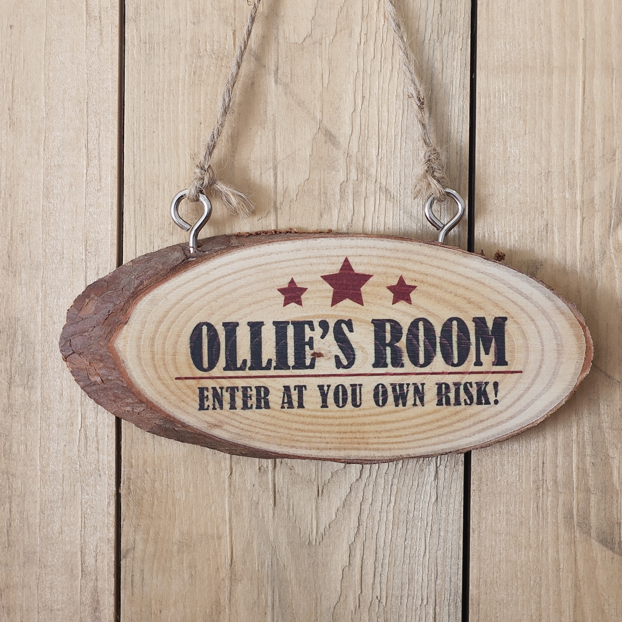 Personalised Boys Room Wooden Hanging Plaque