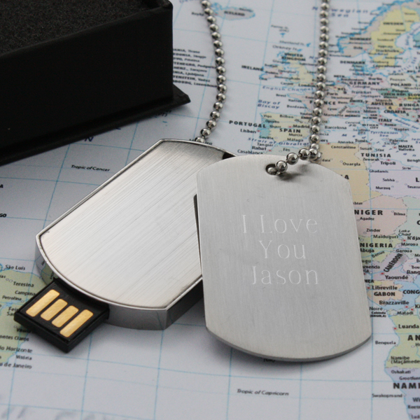 personalised id and usb dog tag necklace