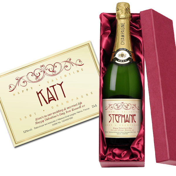 Personalised Valentine's Champagne Gold Gift Carton