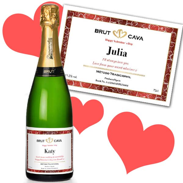 Valentines Day Personalised Bottle of Cava Gold Gift Carton - Valentines Day Gifts