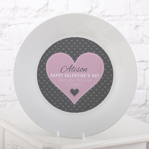 Personalised Valentines Day Pink Heart Design Plate