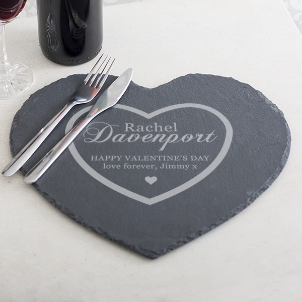 Personalised Valentines Day Heart Slate Place Mat