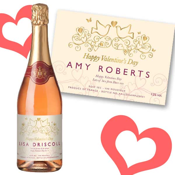 Personalised Valentines Day Sparkling Rose Wine Bottle Only