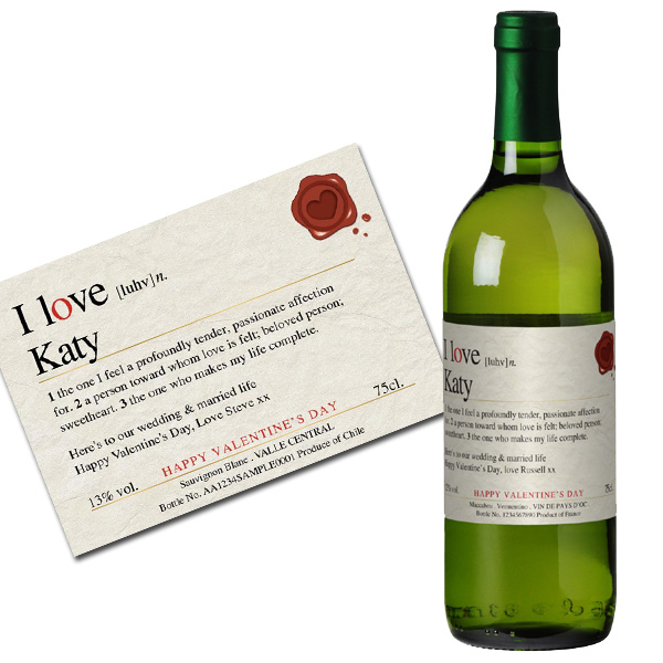 Personalised Valentine's Wine Gold Gift Carton
