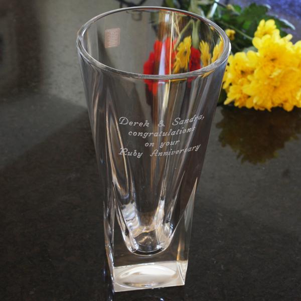 Engraved Italian Crystal Vase - Italian Gifts