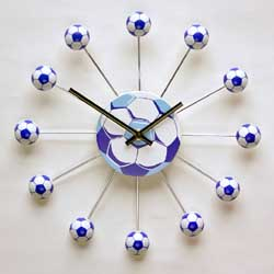 Blue and White Football Wall Clock