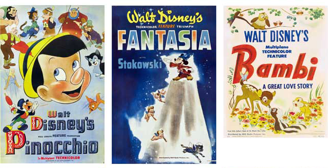 Pinocchio, Fantasia and Bambi - failed to make an impact at the box office