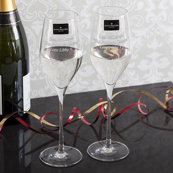 Personalised Dartington Crystal Prosecco Glasses