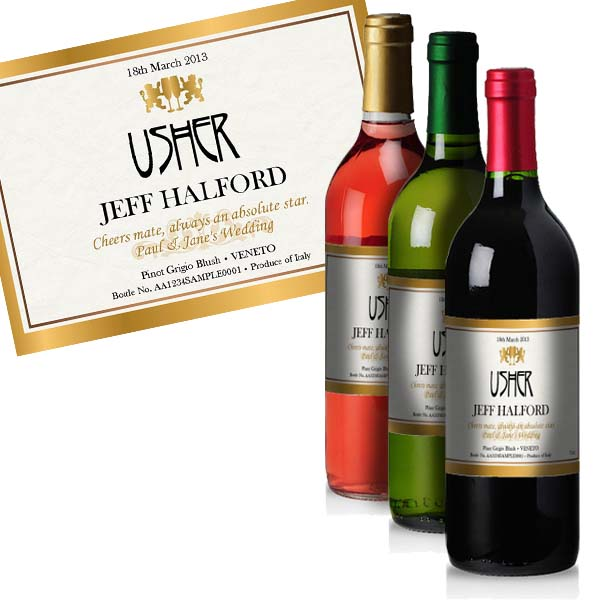Usher Personalised Wine Gold Gift Carton