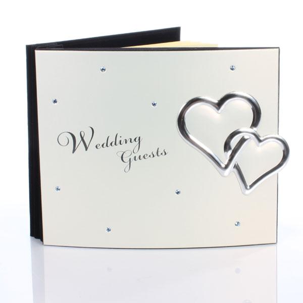 Crystal Hearts Wedding Guest Book