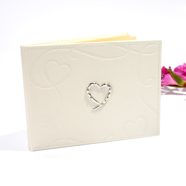 Wedding Guest Book with Swirling Hearts Design