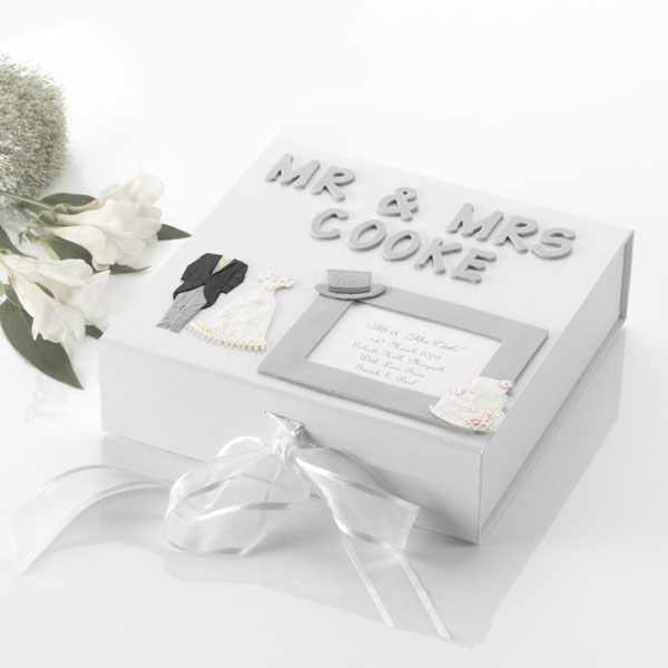 Personalised Wedding Memory Box Silver Large
