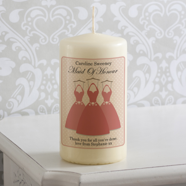 Personalised Maid Of Honour Dresses Candle - Maid Of Honour Gifts