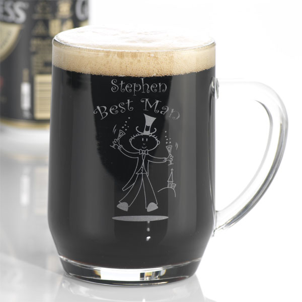 Etched Wedding Character Tankard Usher