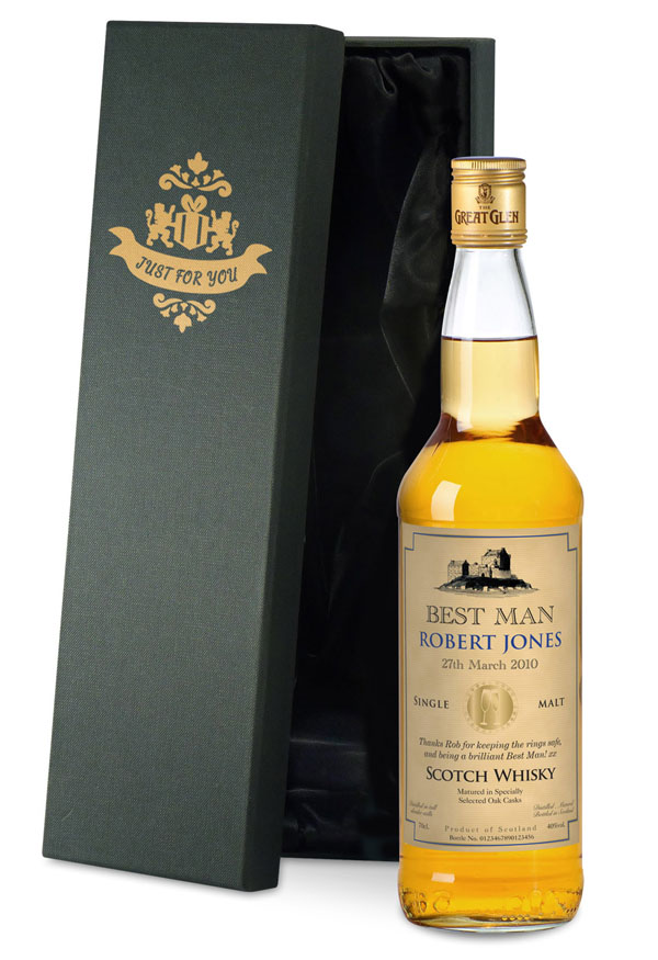 Personalised Best Man Malt Whisky Luxury Gift Box