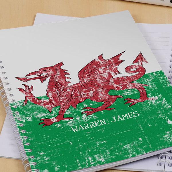 Welsh Dragon Personalised Notebook A5 Size - Notebook Gifts