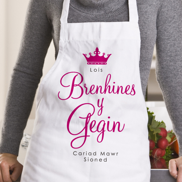 Queen Of The Kitchen / Ffedog Brenhines Y Gegin Personalised Apron
