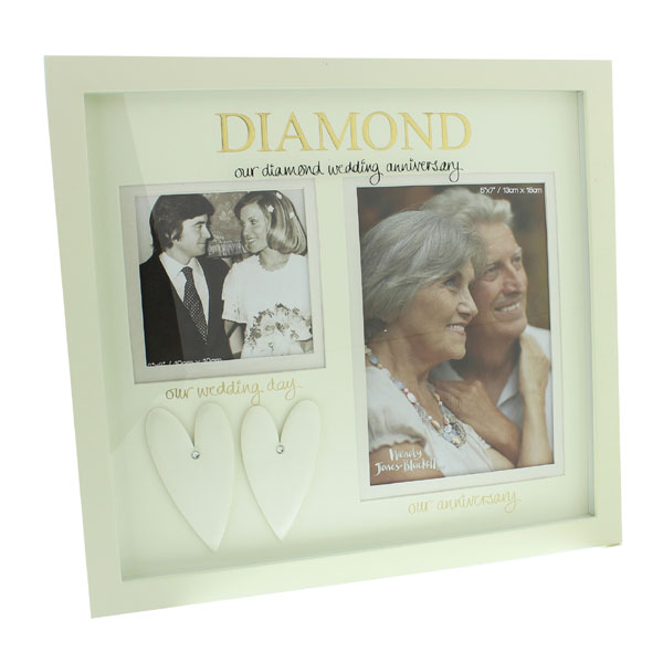 Our Diamond Wedding Anniversary Then and Now Photo Frame