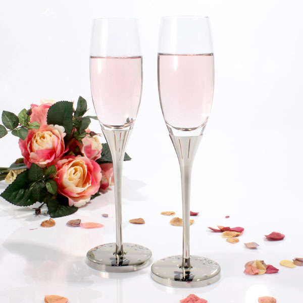 Sparkle Pair Of Wedding Champagne Flutes