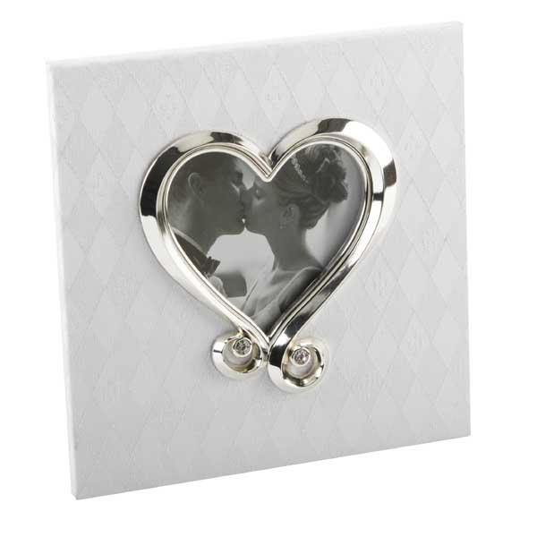 Fabric Wedding Photo Frame With Crystal Heart