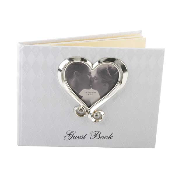 Fabric Wedding Guest Book with Crystal Heart Frame