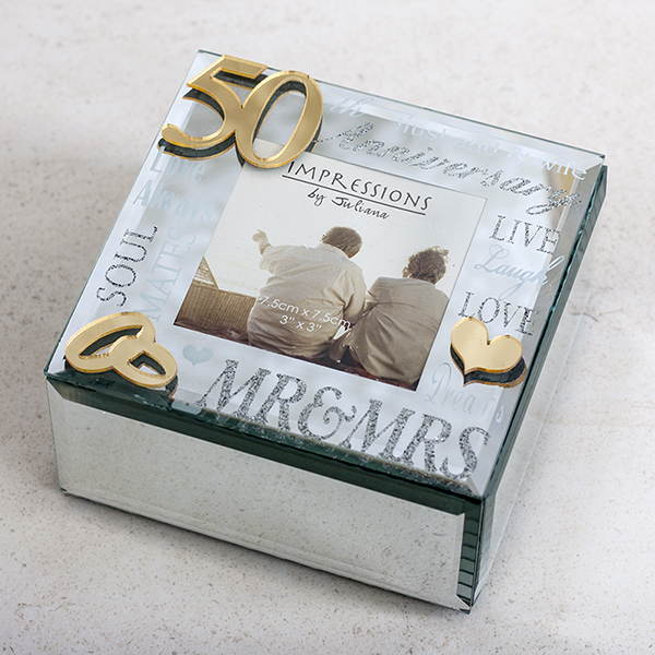 50th Anniversary Glass Trinket Box With Photo Frame - 50th Gifts
