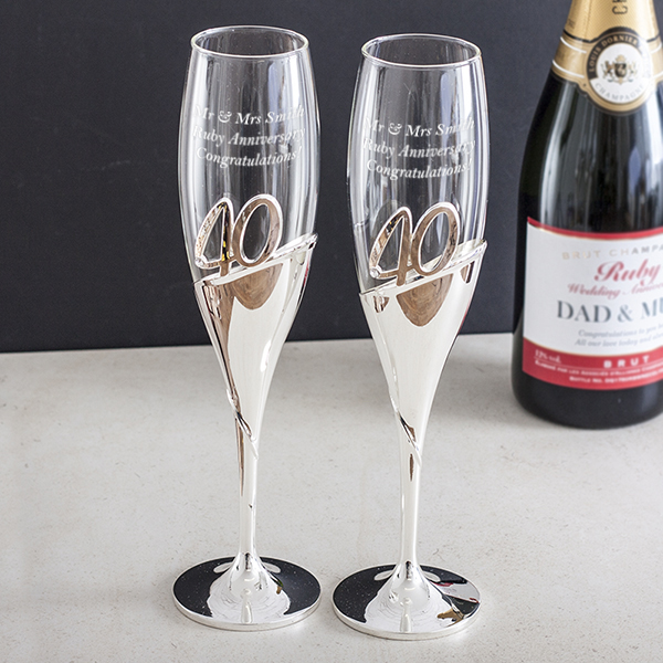 Personalised 40th Anniversary Amore 3d Lettering Champagne Flutes
