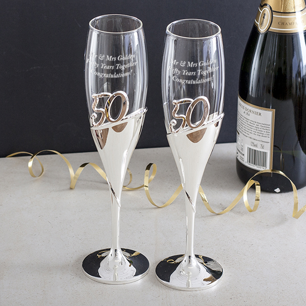 Personalised 50th Anniversary Amore 3D Lettering Champagne Flutes - 50th Gifts